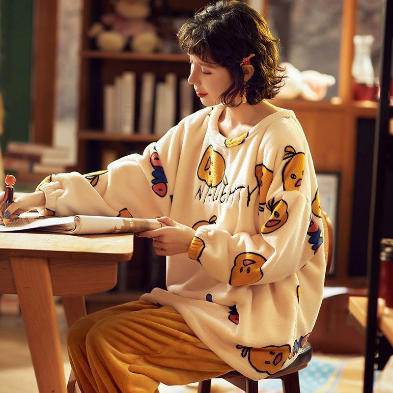 STANDEVE Dibujos animados de trajes de baño gráficos de otoño e invierno conjunto de ropa de vestir kawaii pijama dormir más tamaño
