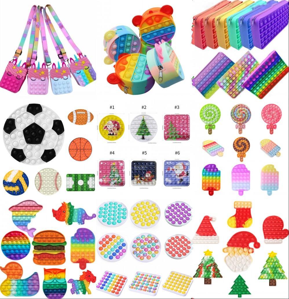 Christmas Fidget Brinquedos Empurre-lo Bolha Antistress Brinquedos Presente Halloween Presentes Sensoriais Suaves Presentes Reutilizáveis Esprema Brinquedos Stress Mancha Jogos Moeda Bolsa