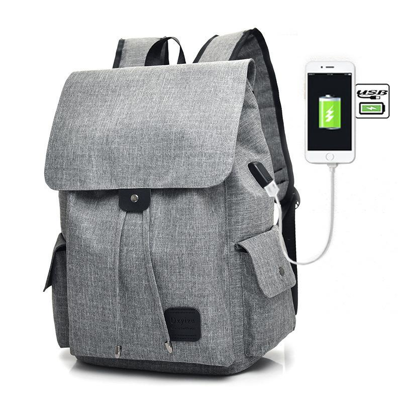 Backpack Rechargeable Men Casual Women's Campus School Bag Fashion Simple Computer Large Capacity