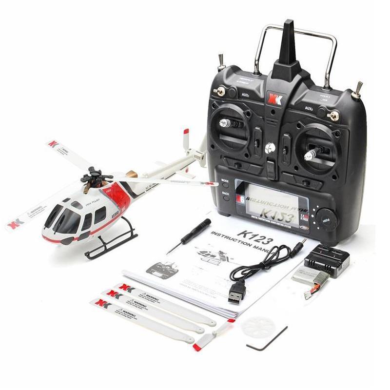 Rctown xk k123 6ch sem escova as350 escala 3d6g sistema não-Aileron rc helicóptero brinquedos para crianças upgrade wltoys v931 (em estoque)