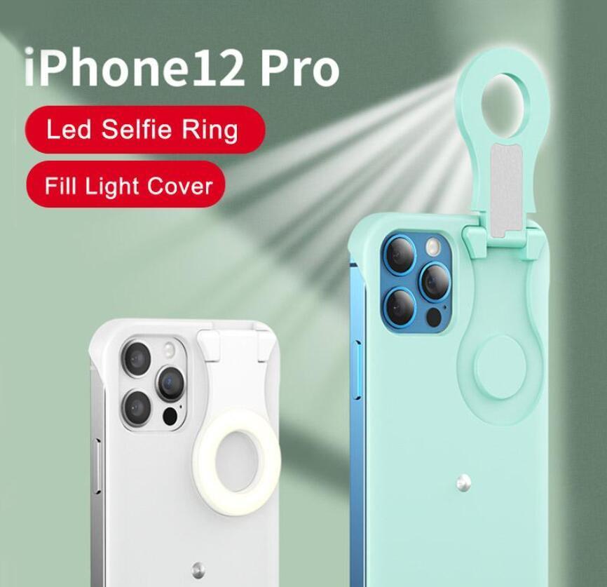 Selfie Light Phone Case LED 채우기 조명 링 플래시 전화 케이스 보호 커버 아이폰 12 12 12 Pro Max