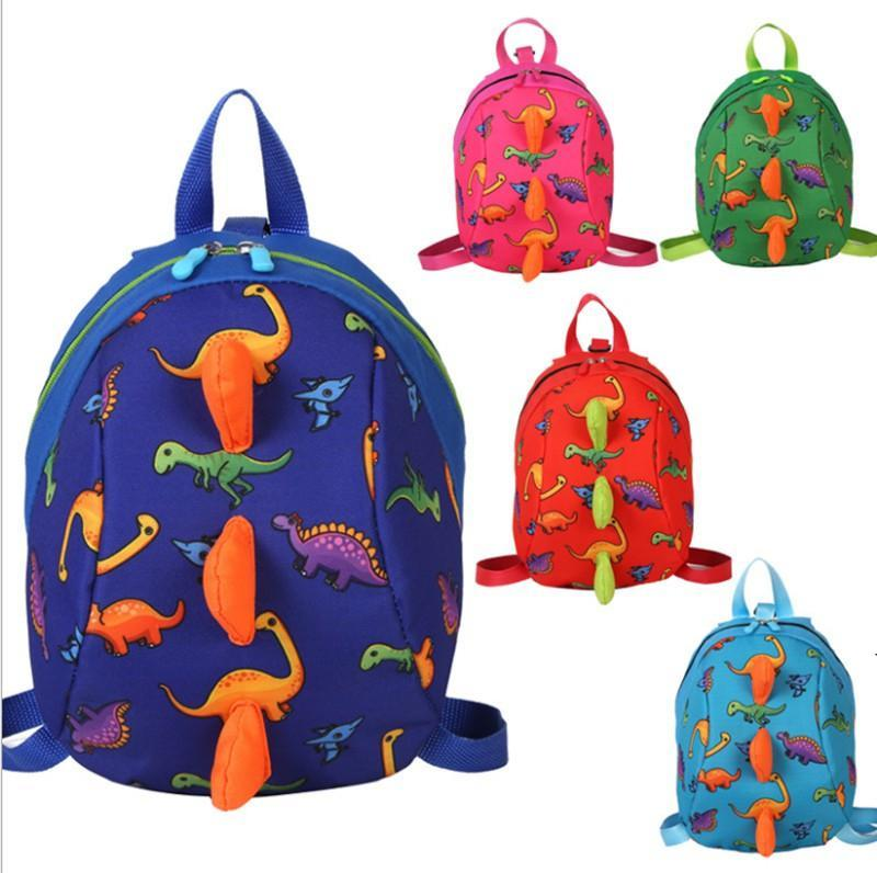Children backpacks cartoon dinosaur printed baby girl kindergarten polyester schoolbag cute kid green blue zipper backpack BWD4945