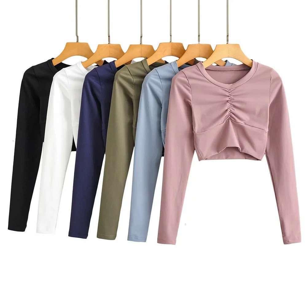 Sports Fitns Базовая рубашка Женская шнурки плиссированные CHT, показывающие круглые шеи ультра короткие с длинным рукавом футболка