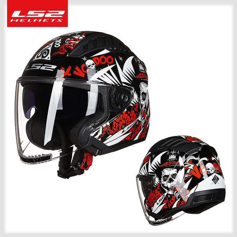 LS2 Capacete OF600 COPTER Vintage /4 Open Face Motorcycle Helmet With Dual Lens Scooter Man Women Casco Moto
