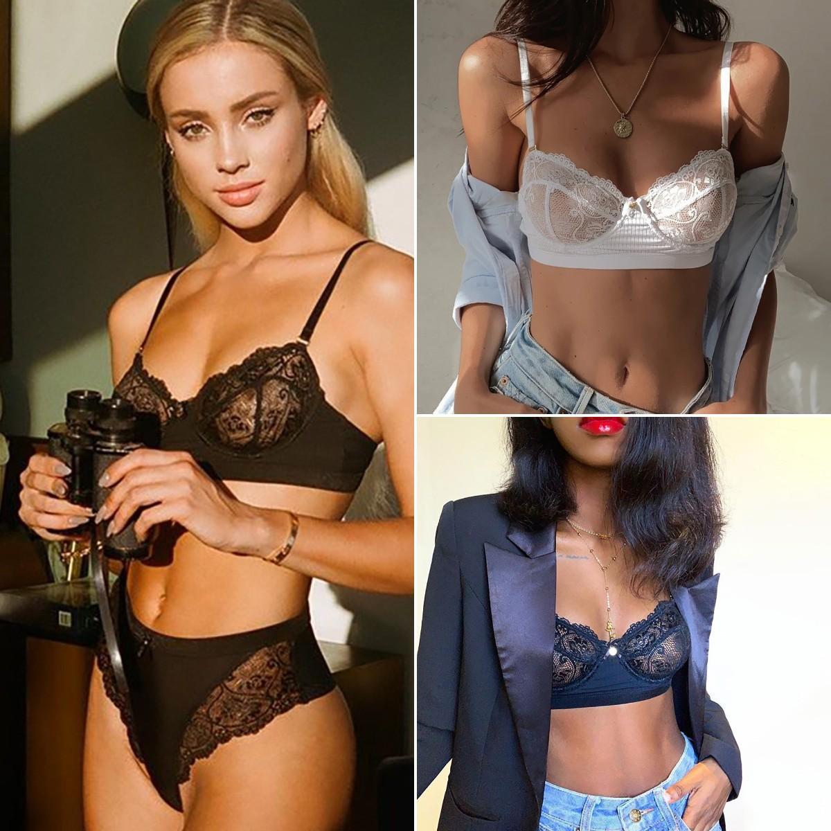 النسائية جنسي الملابس الداخلية شفاف الدانتيل فستان البرازيلي واللباس الداخلي مجموعة الملابس الداخلية البوليستر مجموعة العشير السيدات خزان أعلى سترة