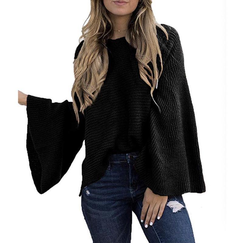 Женщины сплошной вспышки вязаный вязаный свитер Top 2021 осень зима мода женские пуловерные свитера женские жимы свободный повседневный трикотаж
