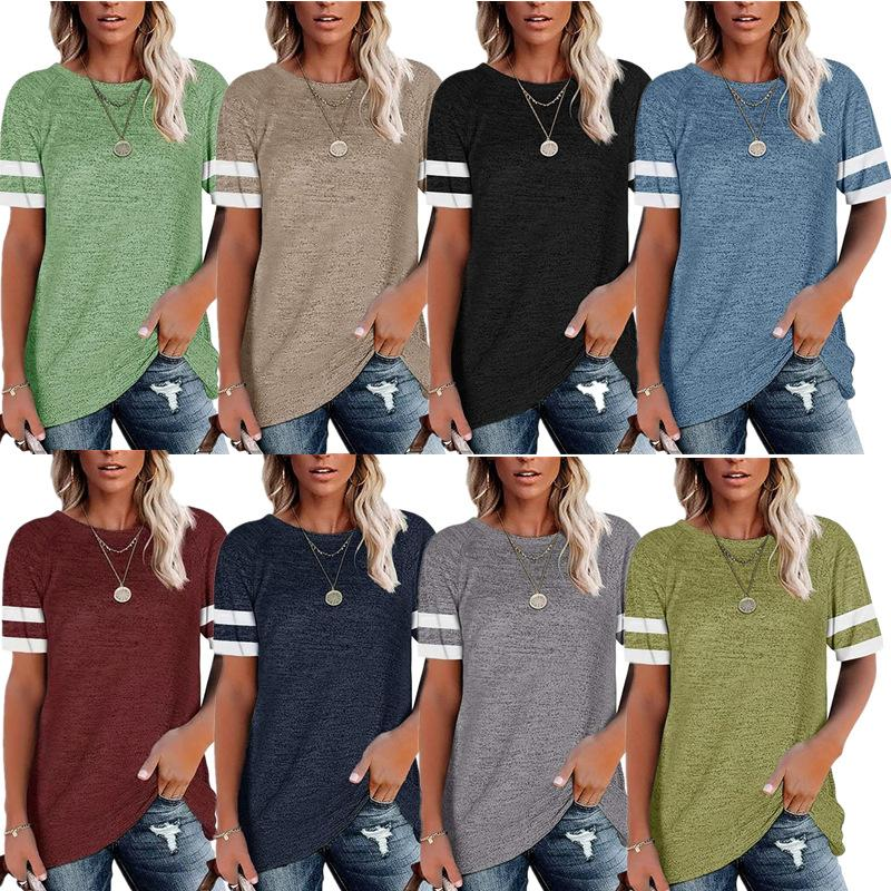 2021 new T-shirt casual women's home wear color matching short sleeve T-shirt multi color cotton raglan sleeve loose top