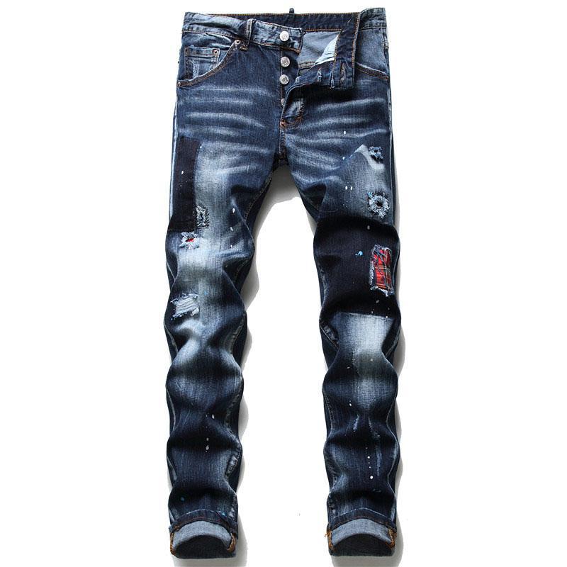 Mode Männer Ripping Slim Fit Jeans Skinny Gerade Beingewaschene Herren ausgefranst Motocycle Denim Hosen Hip Hop Stretch Biker Herrenhose 1098