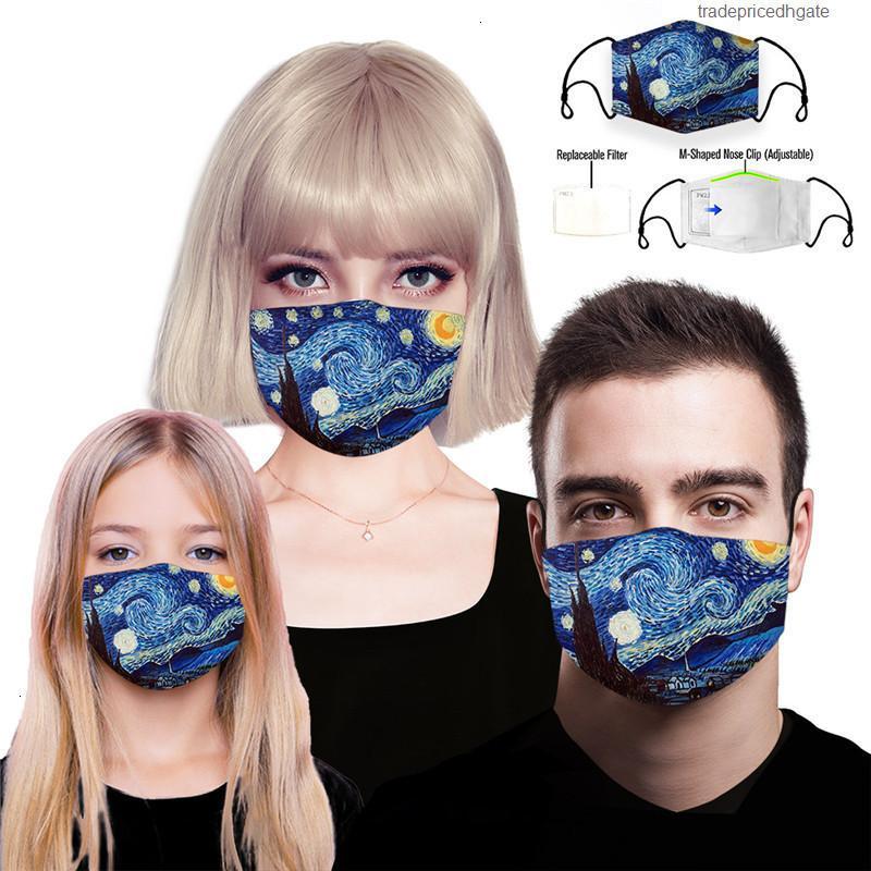 Рта дизайнер pm2.5 защитные повторно используемые маски фильтр печать анти пыль маска для лица ветрозащитный рот-муфель 84 стилей damon02