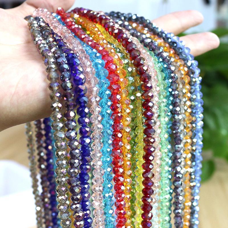 Andere 2/3 / 4mm Miyuki Runde Perlenglas Kristall Rondelle AB Lose Facettierte Perlen Handarbeit Zubehör für Schmuckherstellung