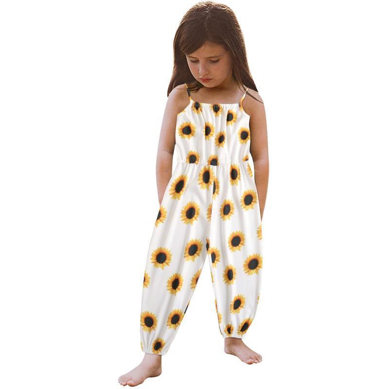 Jumpsuits Sommer Baby Kinder Mädchen Gurte Strampler Sunflower Print Born Kind Kleinkind Sleeveless Overall Kleidung 0-4 Jahre