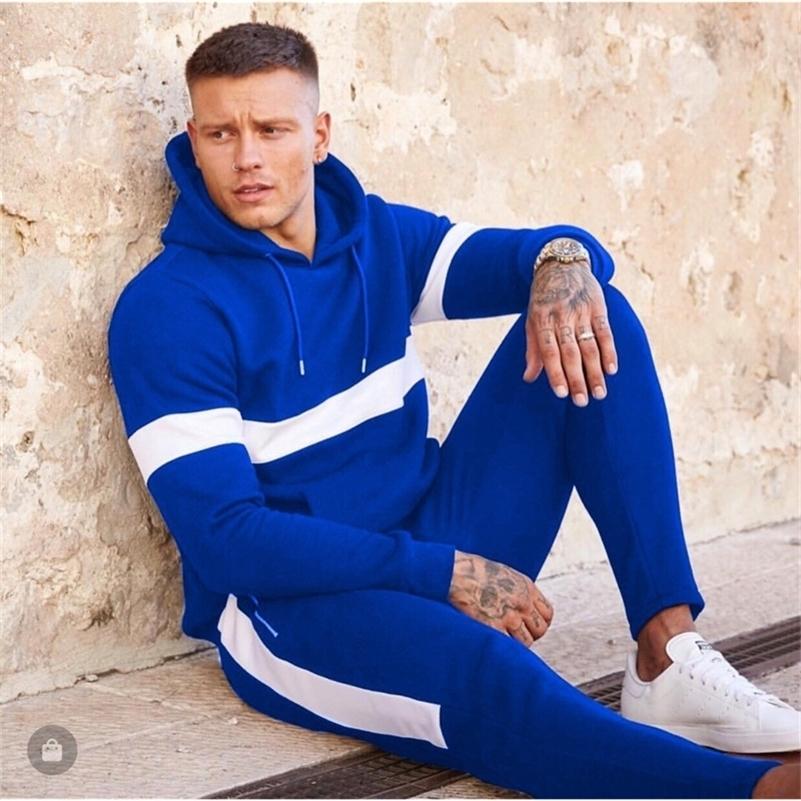 Causal Hommes Pantalon Pantalon Jogging Costume 2 PCS Suivi de l'automne Hommes Outfits Sportswear SweatSuit Fit Vêtements Hommes 201128