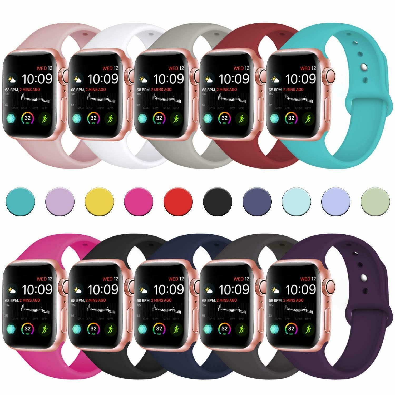 62 Renkler Silikon Kayış Bantları Değiştirme Apple Watch Band Bilek ile Adaptörler Aksesuarları 38mm 40mm 42mm 44mm Watchstrap