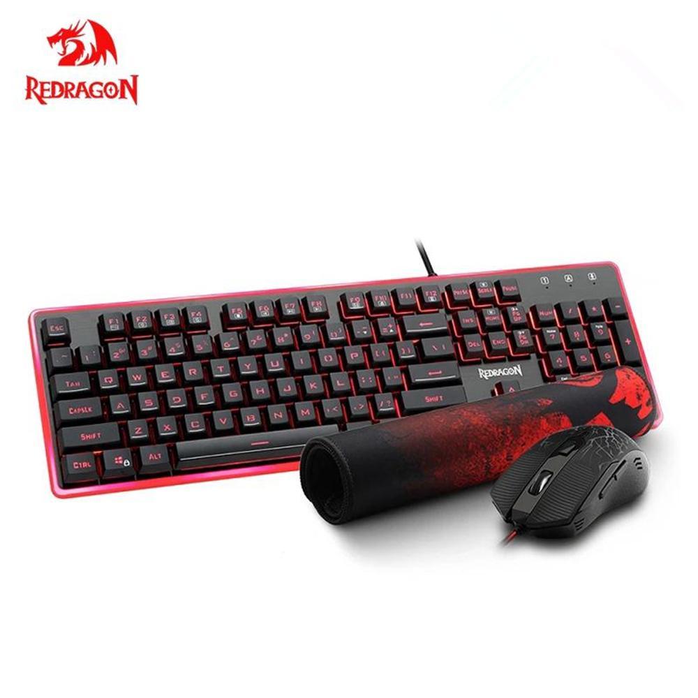 Redragon S107 USB Gaming Membrane RGB клавиатура мыши Pad Combos 104 клавиш 3200 DPI 6 кнопок MICE набор проводной компьютерной компьютер
