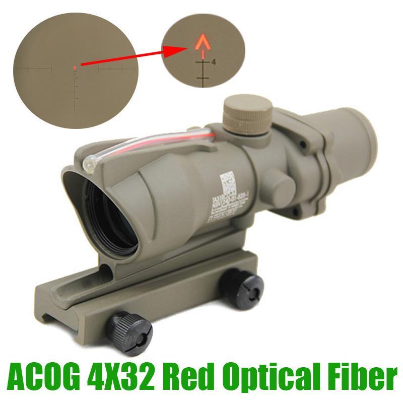Acog 4x32 광섬유 적색 조명 쉐브론 유리 에칭 된 레티클 사냥 소총 4x 돋보기 전술적 인 시력