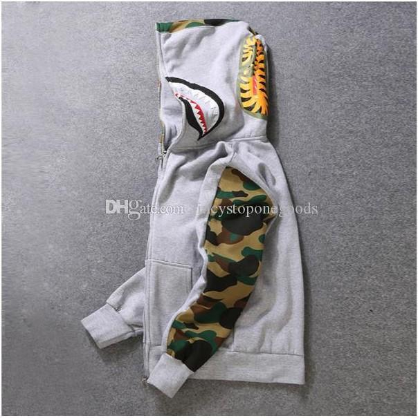 Mens d'amant femelle Sportwear manteau Jogger TrackSuit pull Sweat-shirt en molleton noire Hip Hop Sweats à capuche Hommes Shark Bouche