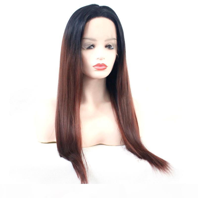 Ombre Lace frente peruca sintética castanho longo resistente calor resistente ao calor cabelo de fibra sem glesa marrom ombre 1b 33 perucas sintéticas para mulheres