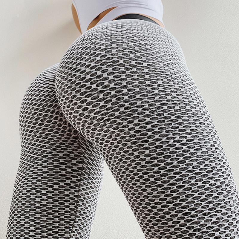Женские сетки колготки персик бедра фитнес нажимается на йога брюки эластичные высокие талии спортивные спортивные бедра подъемные бегущие фитнес брюки