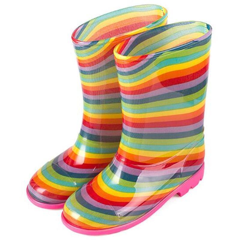 Niños Botas de lluvia PVC Chica Botas de goma Impermeable Amarillo High-Tube Boys Boot Boot