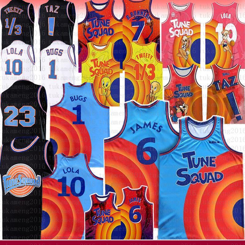 2021 Blue Lebron 6 James 23 Michael Ncaa Bugs Movie Space Jam 2 Tune Squad Basketball Jersey 10 Lola d.duck! TAZ 1/3 تويتي 7 R.Runner