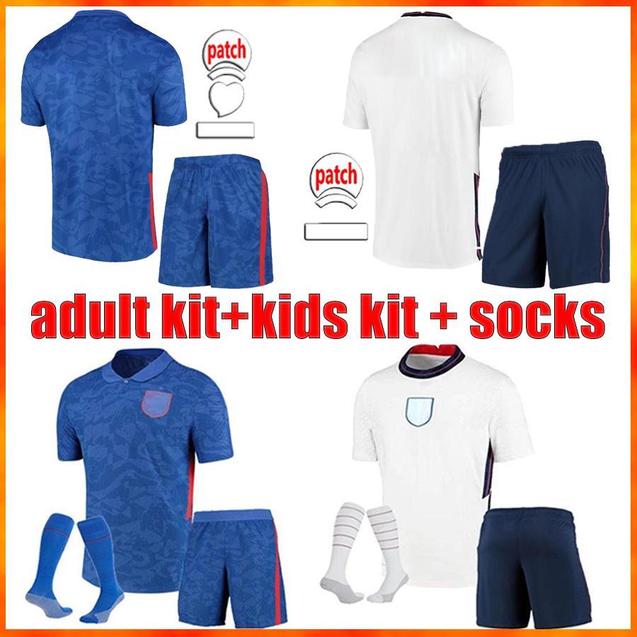 Neueste Top-Qualität Erwachsene + Kinder-Kit + Socken Fußball-Trikots Kane Sterling Sancho 2021 2022 Ngland Rashford DELE 21 22 ENGLA ND Home Away Football Hemden