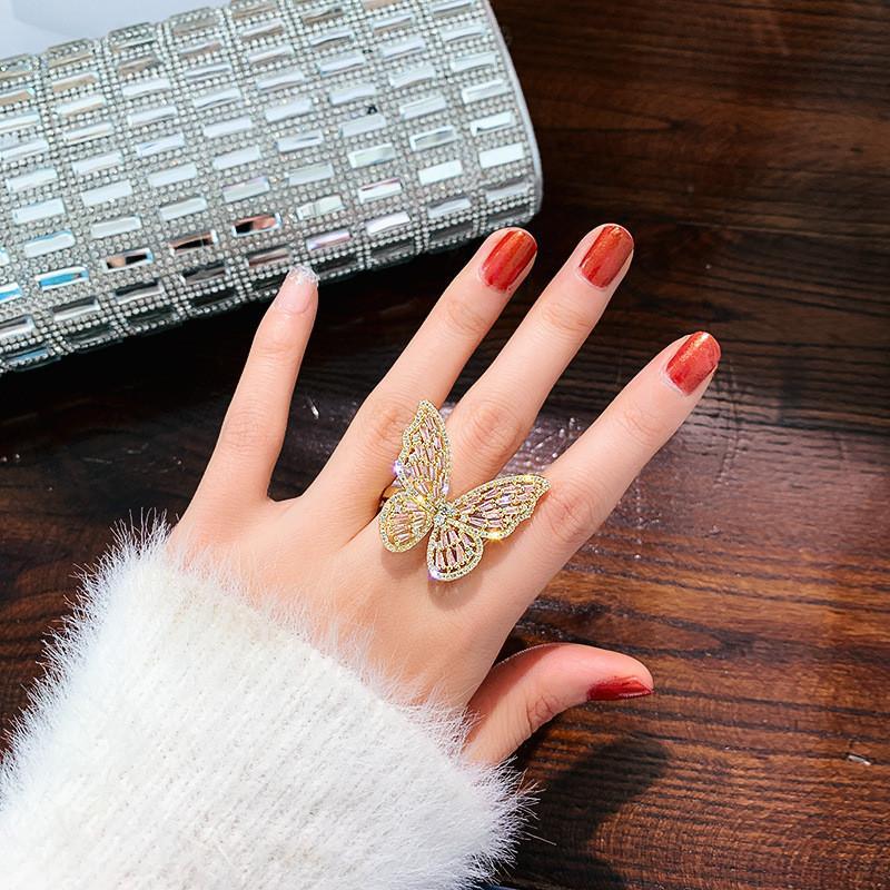 Anillos de cristal de lujo para mujeres 2019 Open Abra Ajustable Shine Butterfly Anillos Weddings Party Jewelry Regalos