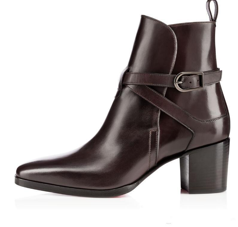 Ladys Boots Calfskin Genuine Leather Red Bottom Boots For Women Karistrap bootie High Block Heel Boot Ankle Boots With Straps High Heels