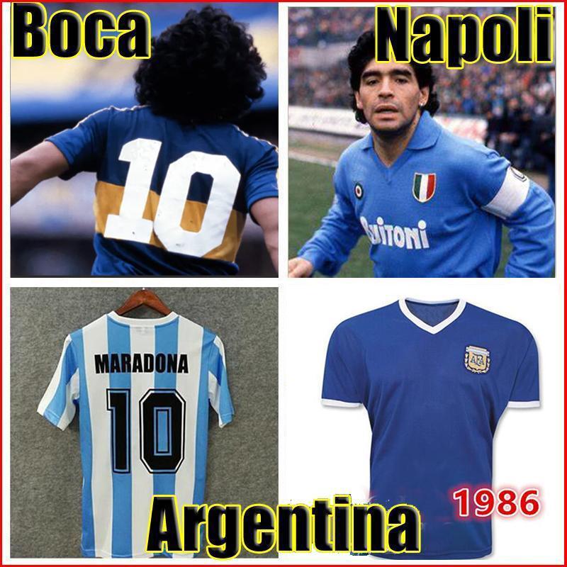 1978 1986 아르헨티나 Maradona 홈 축구 유니폼 레트로 1981 Boca Juniors 87 88 나폴리 나폴리 축구 셔츠
