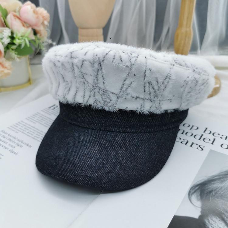01 casquette blanche automne hiver épissage plate octogonale filet rouge rouge top soft chapeau de marine lqc2