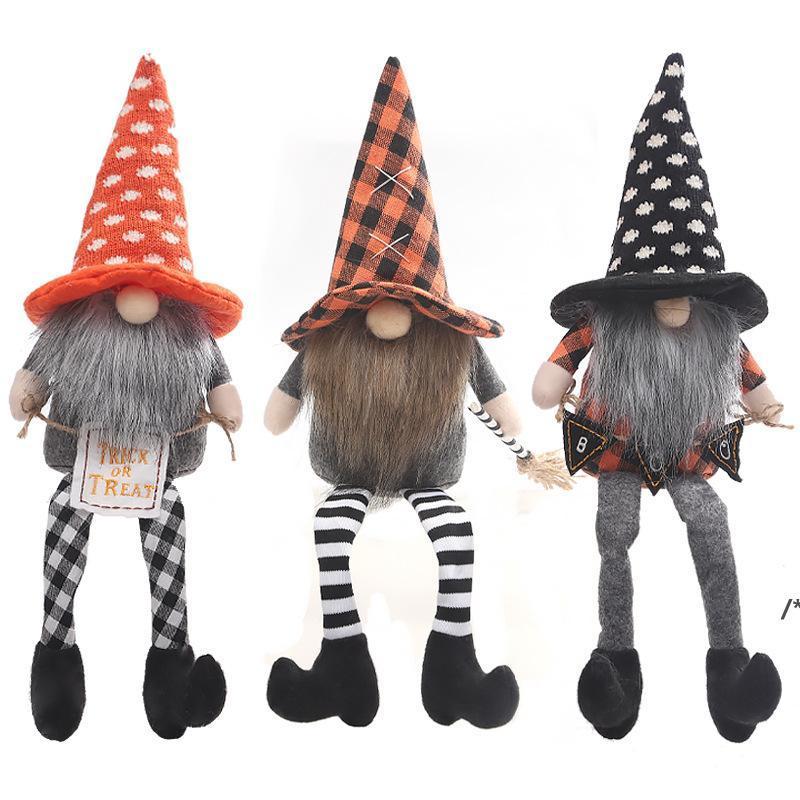 Halloween Dekoration Hexe Mantel Hut Fachlose Puppe Langbeinige Puppe Fenster Dekorationen Ornamente NHD10681