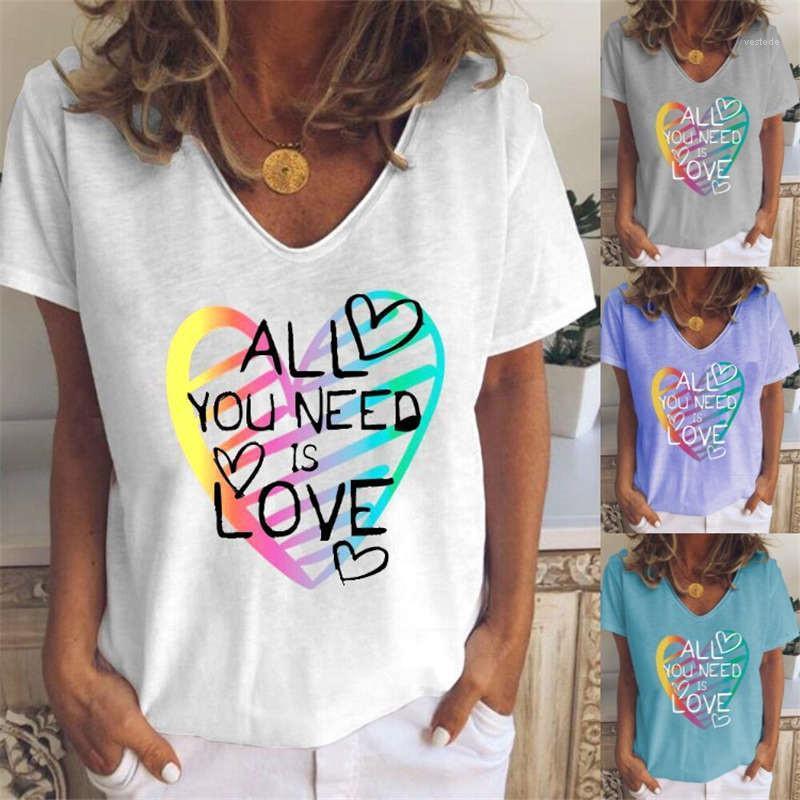 느슨한 v 목 여자 탑 캐주얼 풀오버 홈 통기성 여성 티셔츠 여름 반소매 womens tshirts 인쇄