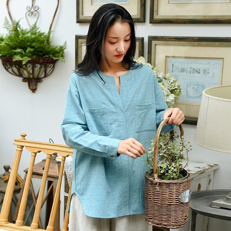 Женская футболка сказочные дамы хлопковое белье футболки карманы V-образным вырезом нерегулярная длина 2021 весенние женщины повседневный мягкий с длинным рукавом