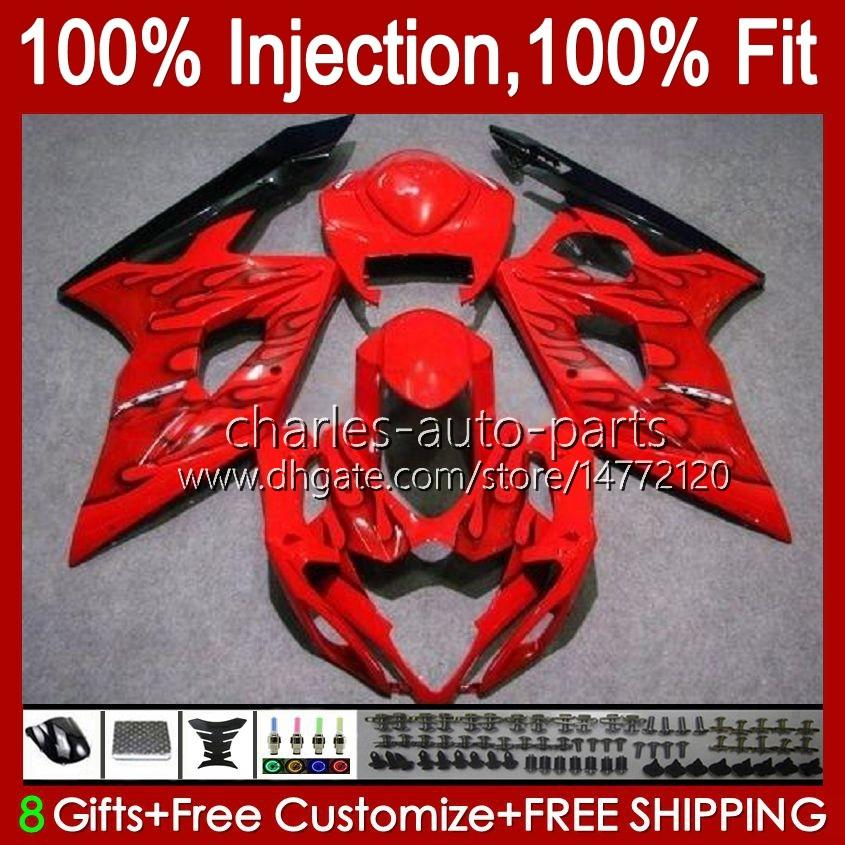 Body Injectievorm voor Suzuki GSXR 1000CC 1000 CC K5 GSXR1000 05 06 Carrosserie 11HC.67 GSXR-1000 2005 2006 Cowling GSX-R1000 GSX R1000 05-06 OEM Fairing Black Flames Blk