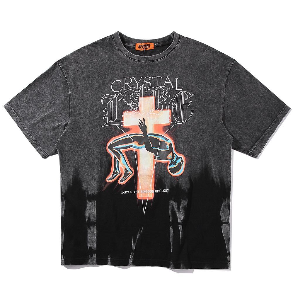 2021 Novo estilo gótico punk homens vestuário satanás camisas pretas verão tops plus size oversized satanic streetwear mens tshirt 93fy