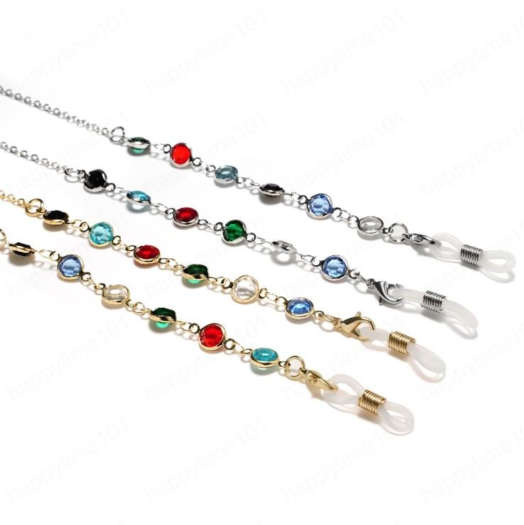 Crystal Cuivre Chaînes Cordons Lunettes Chaîne Mode Femmes Sunglasses Accessoires Lanyard Hold Hangles