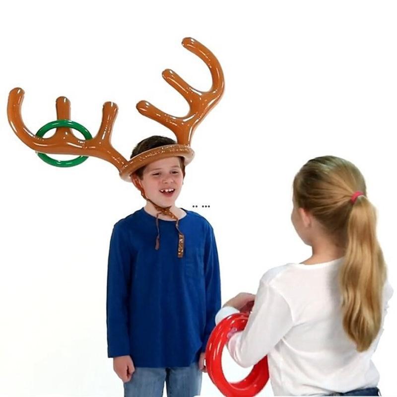1 СТАЛО надувной Санта Смешные олени Агуляторная шляпа Кольцо бросок рождественские рождественские праздник игры рождественские открытые надувные игрушки поставки HWA3723