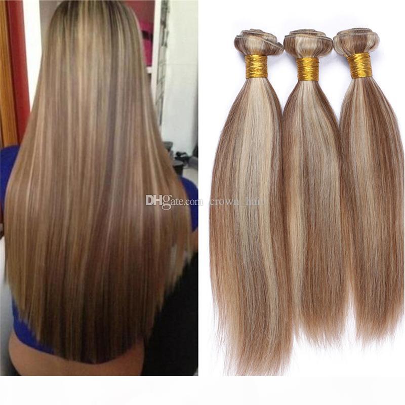 Ceniza ligera Brown Ombre Extensiones de cabello virgen brasileño Sedoso RECTORES 3 UNIDS # 8 613 MEZCLA COLOR PIANO 100% HUMANO 3 Paquetes