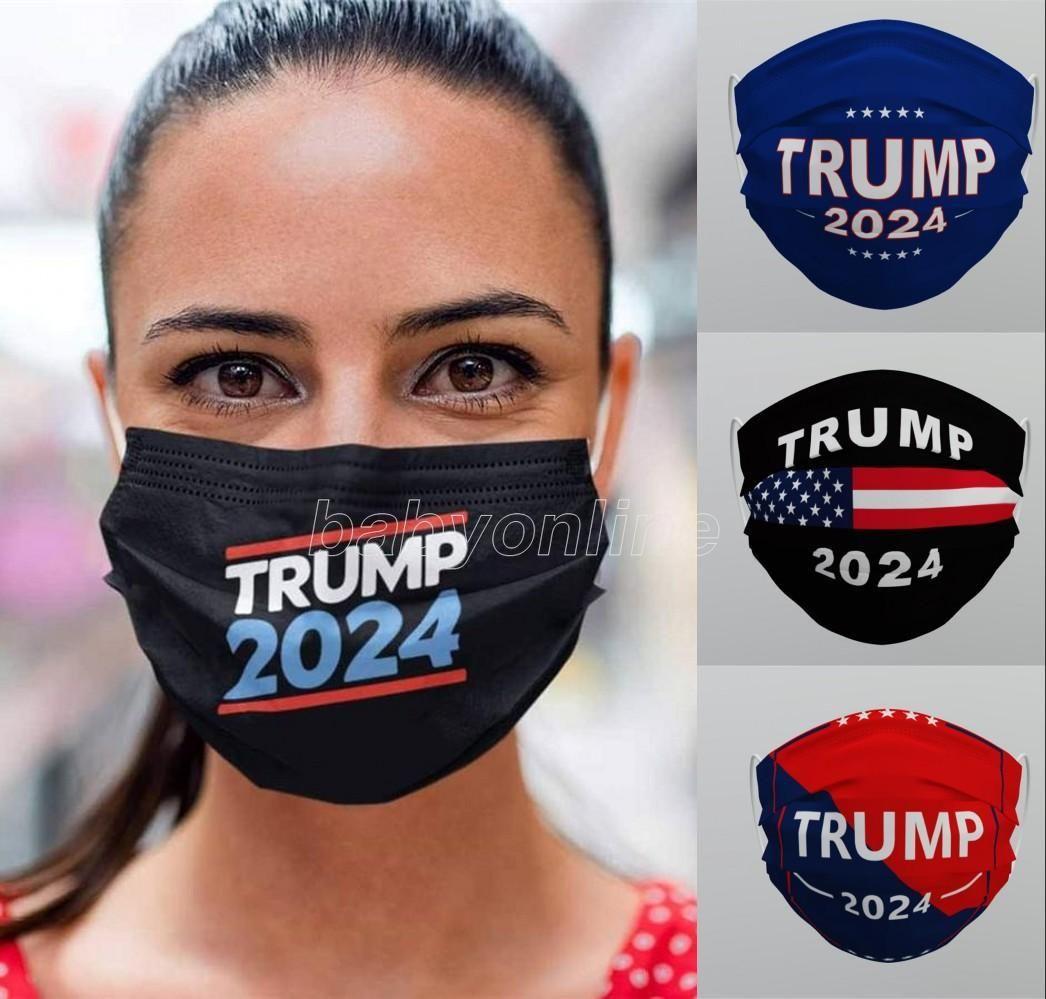 Trump 2024 Kullanımlık Yıkanabilir Yüz Maskesi Dokunmayan Kumaş Anti Toz Haznesi-Proof Nefes Unisex Yetişkinler Facmetasks