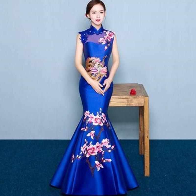 Sexy Blue Mariage Robes Formelle Soirée Orientale Robe Orientée Bride Chinoise Traditionnel Cheongsam Moderne Qipao Robe Chinoise Chinoise Femme