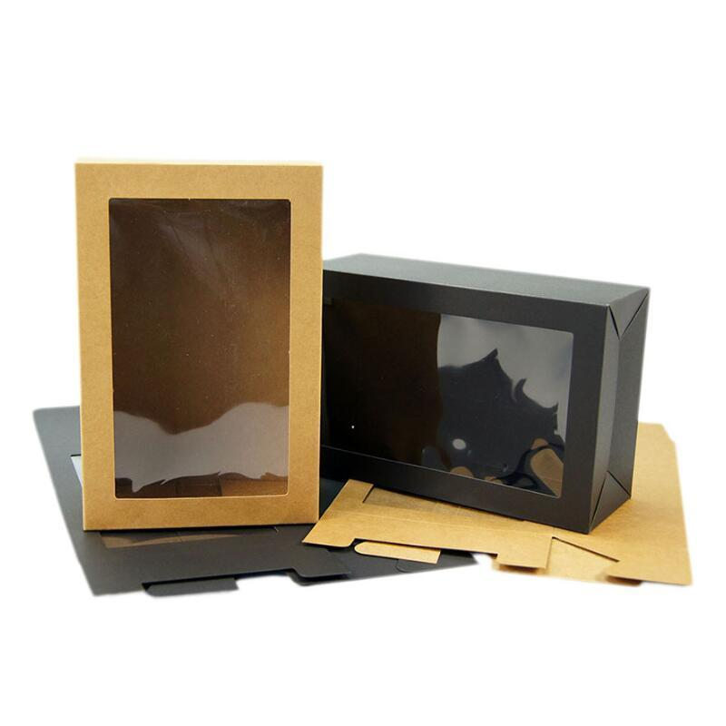Kraft Black Gift Packaging Box With Window Cardboard Paper Box Party Cake Baking Cookies Candy Boxes