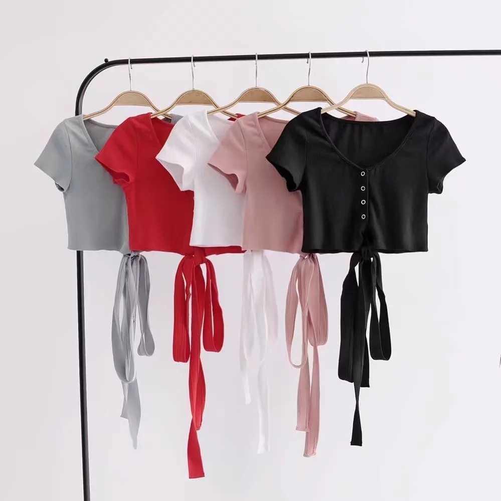 Kadın Açık Göbek Bel Kayışı Kısa Kollu Tişört Yaz Yeni Yoga Ceket