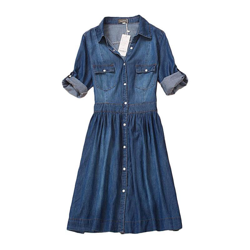 Vestido de mezclilla de longitud de la rodilla de las mujeres ropa de otoño más tamaño azul jeans vestido elegante primavera delgado casual vaqueros vestidos Vestidos x0521