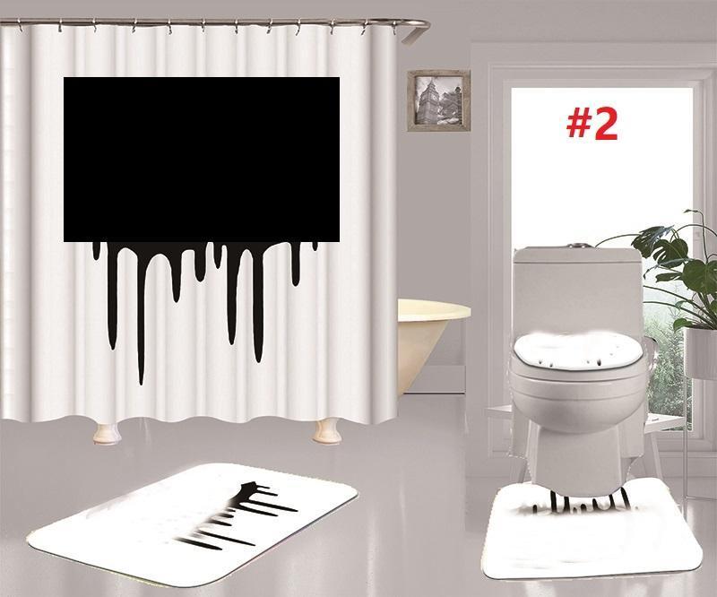 الكلاسيكية إلكتروني مطبوعة دش الستائر مجموعة مصمم السجاد 4 قطعة مجموعة المرحاض مقعد الغلاف الطابق حصيرة الحمام غير زلة حصيرة مجموعة
