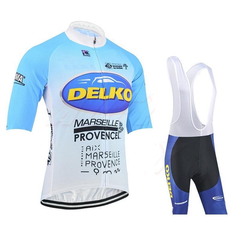 Delko Team Велоспорт Короткие рукава Джерси (Bib) Шорты Устанавливает быстрый велосипед Тонкий ремешок Летний Велосипед Одежда Sportwear 31921