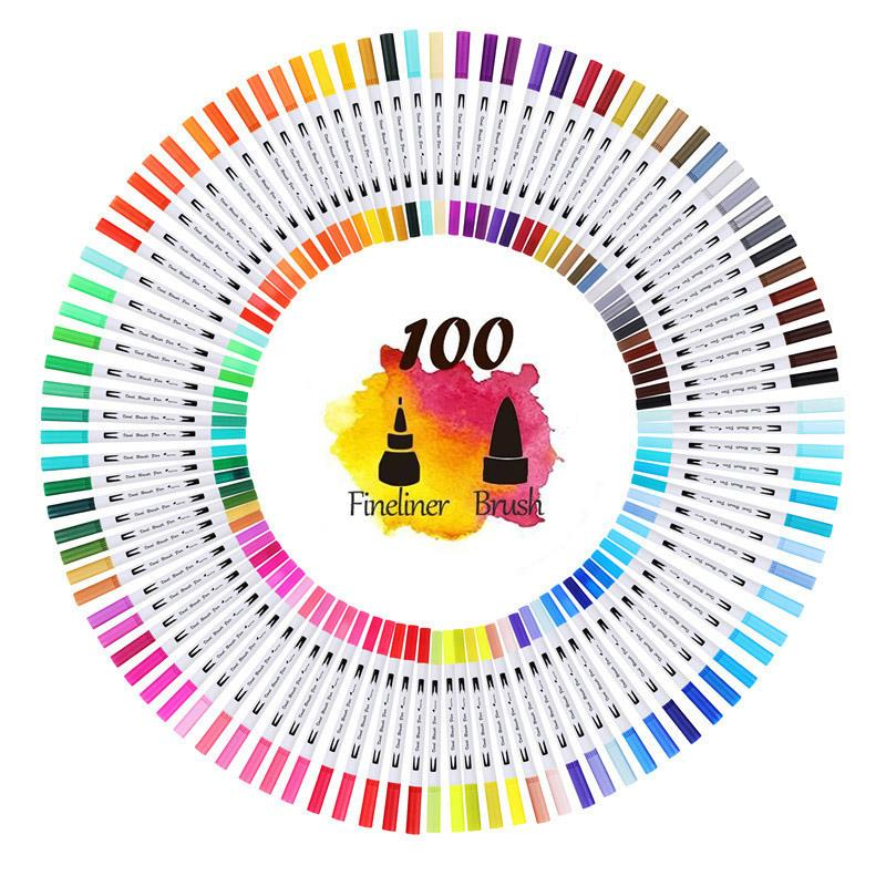 Painting Pen Dual Tip Art Markers Pens 12/24/48/60/80/100 Colors Water-colour Brush for Drawing Paint Calligraphy Supplies