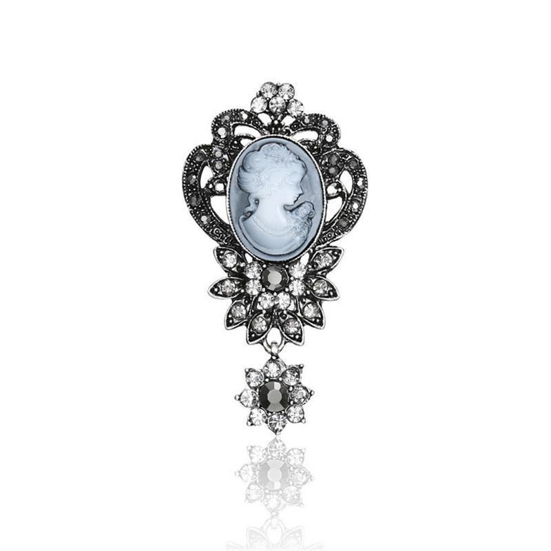 Pins, broches vintage estilo elegante Victorian Retro cameo de cristal broche unisex vestuário moda jóias acessório presente 3 pcs