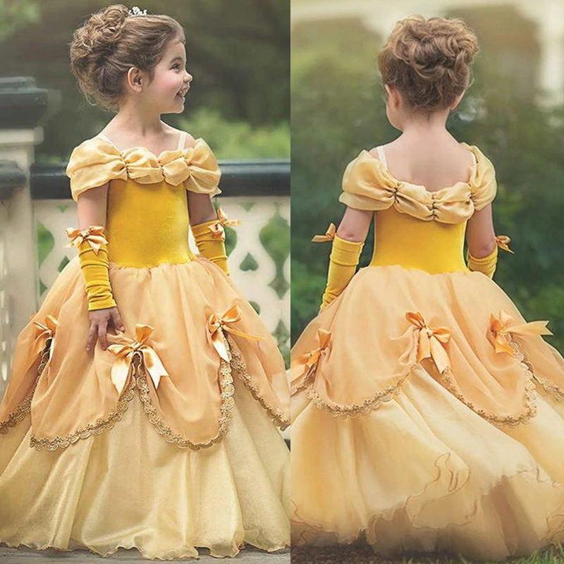Prenses Sarı Çiçek Kız Elbiseler Kapalı Omuz Dantel Kız Pageant Törenlerinde Cosplay Kat Uzunluk Doğum Günü Partisi Elbise Kraliyet tarzı