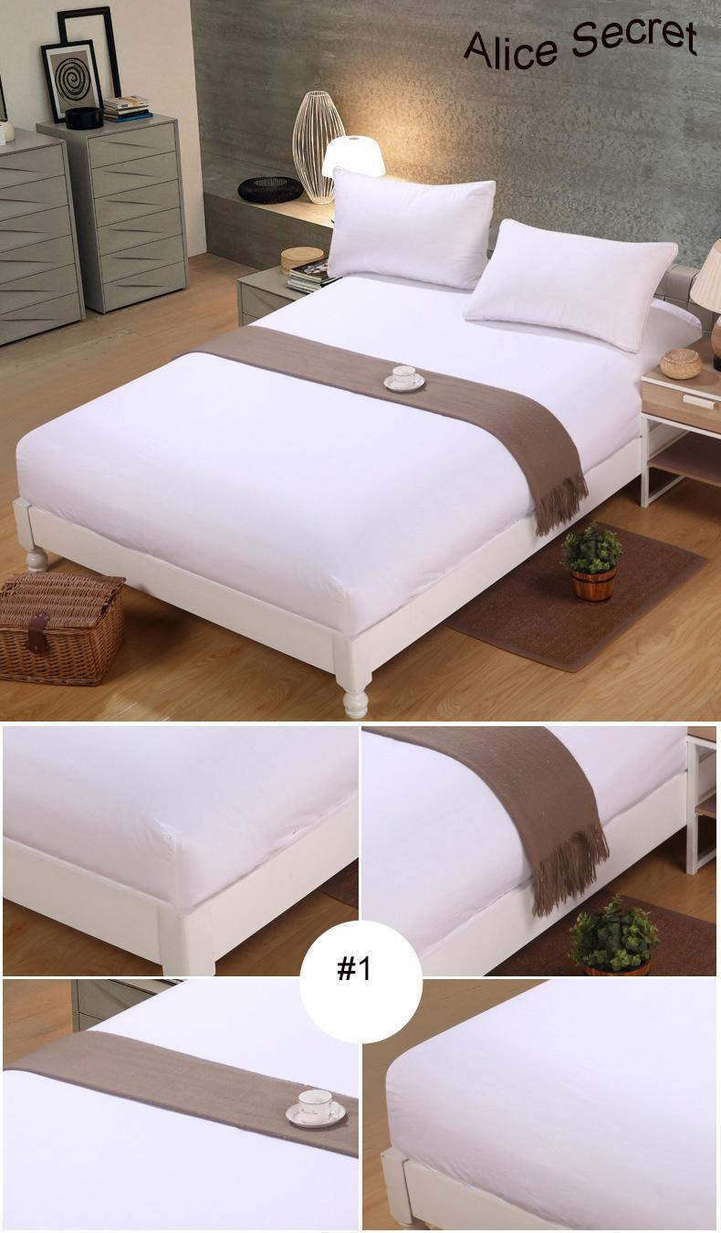 1pc 100%Polyester Fitted Sheet Mattress Cover Solid Color Bedding Four Corners With Elastic Band Bed Sheet