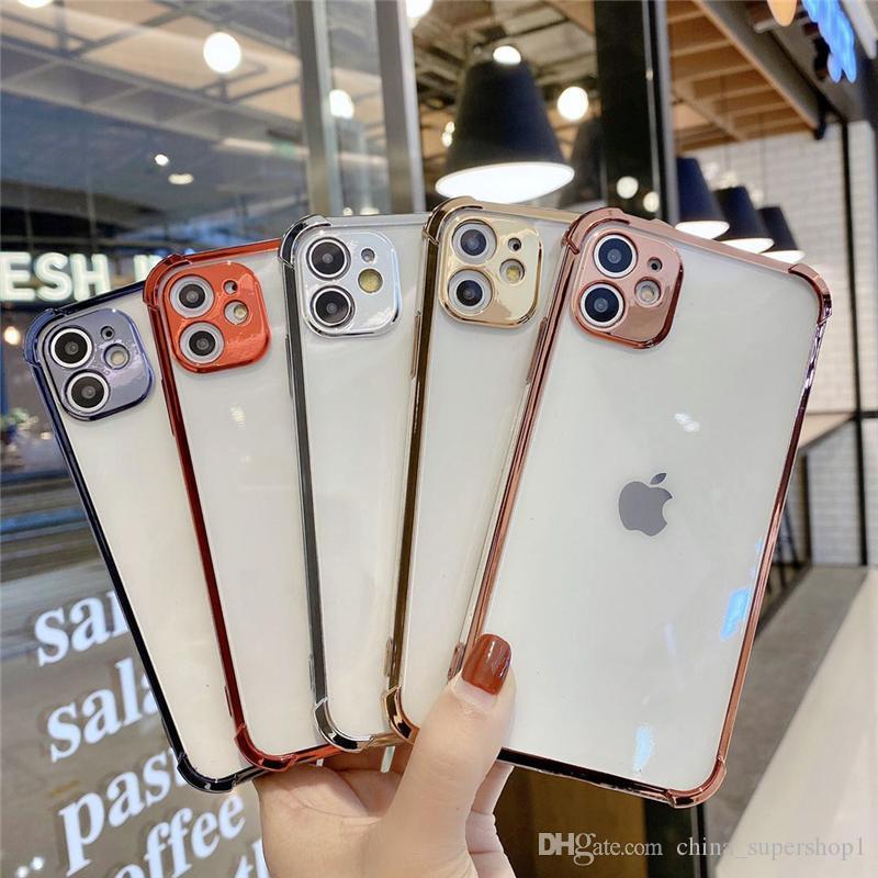 새로운 SE2020 고품질 클리어 도금 카메라 보호 아이폰 11 x 6 7에 대 한 소프트 케이스 블링