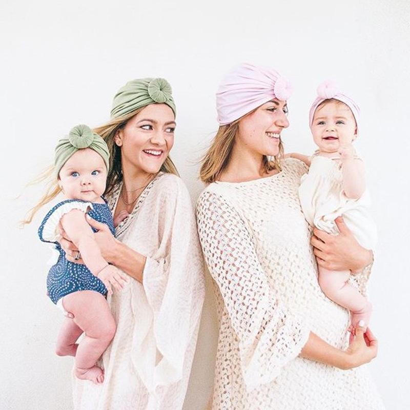 엄마와 아기 면화 모자 도넛 아기 유아 모자 아이 부드러운 비니 베비 공 터번 여성 모자 신생아 헤드 랩 부모 - 자식 모자